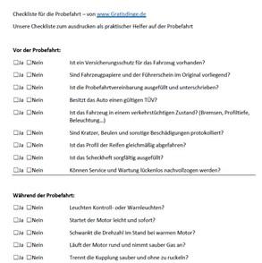 Gebrauchtwagen Probefahrt Checkliste